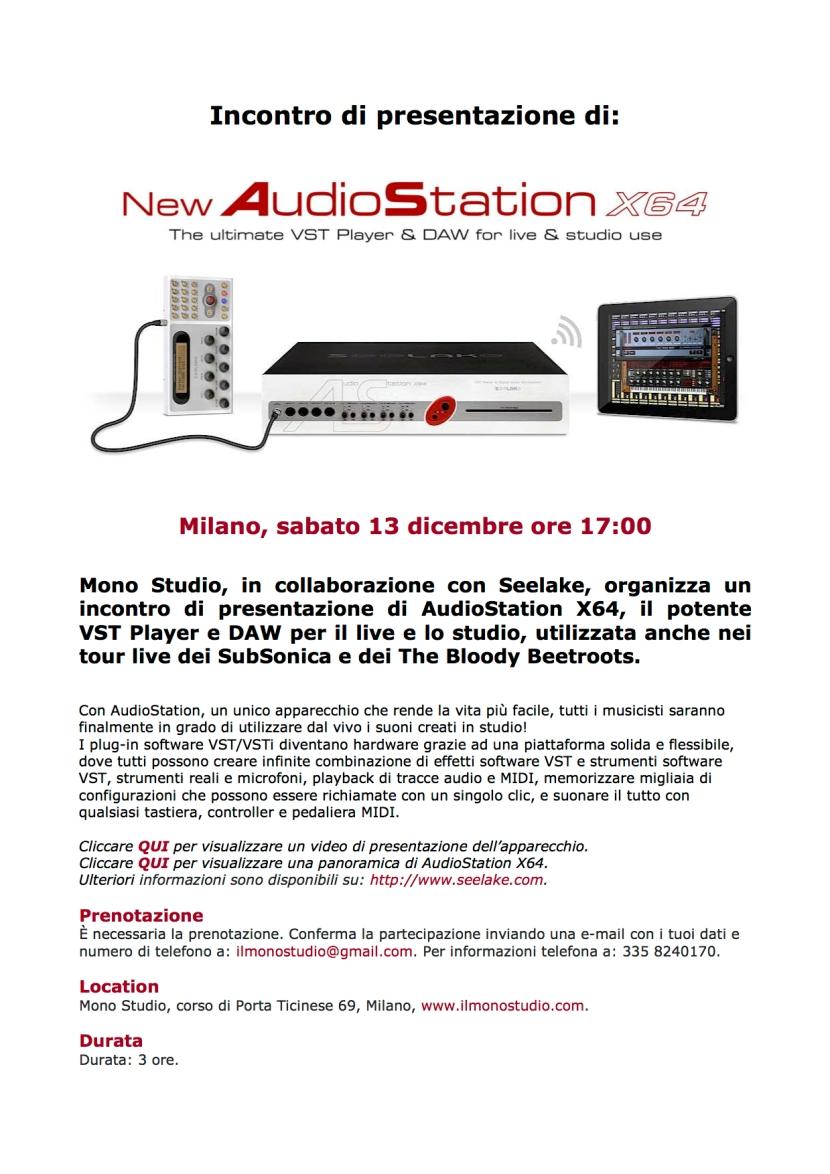 Locandina presentazione AudioStation X64 al Mono Studio J